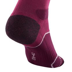 Calcetines largos de senderismo montaña. 2 pares MH 500 violeta ciruela
