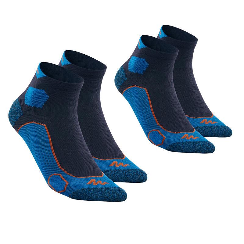 Mid-Length Mountain Hiking Socks. Forclaz 500 2 Pairs - Dark Blue