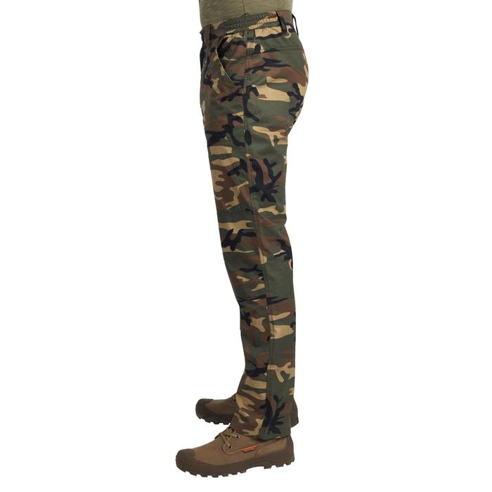 Pantalon léger chasse 100 camouflage woodland vert