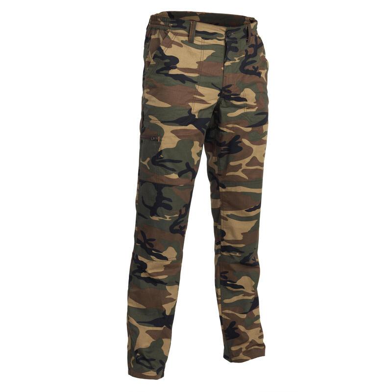 Pantalon léger chasse 100 camouflage woodland vert et marron