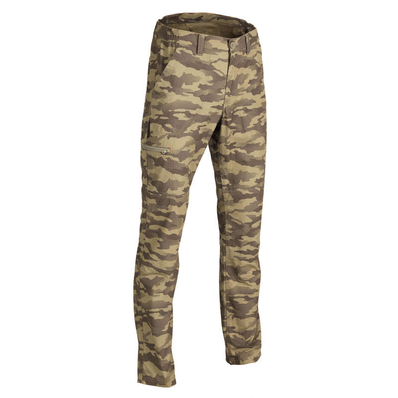 LIGHTWEIGHT CLOTHING Shooting and Hunting - 100 CAMO PANTS ISLAND GREEN SOLOGNAC - Hunting and Shooting Clothing