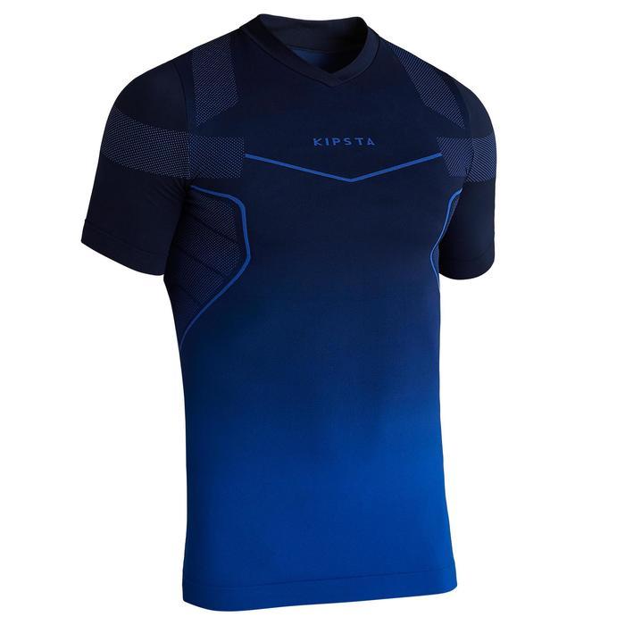 Camiseta térmica de fútbol de manga corta adulto Keepdry 500 azul índigo