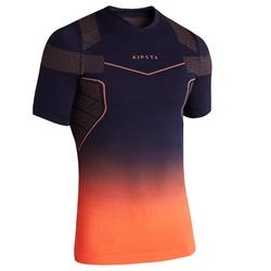 Camiseta térmica de fútbol de manga corta adulto Keepdry 500 violeta naranja