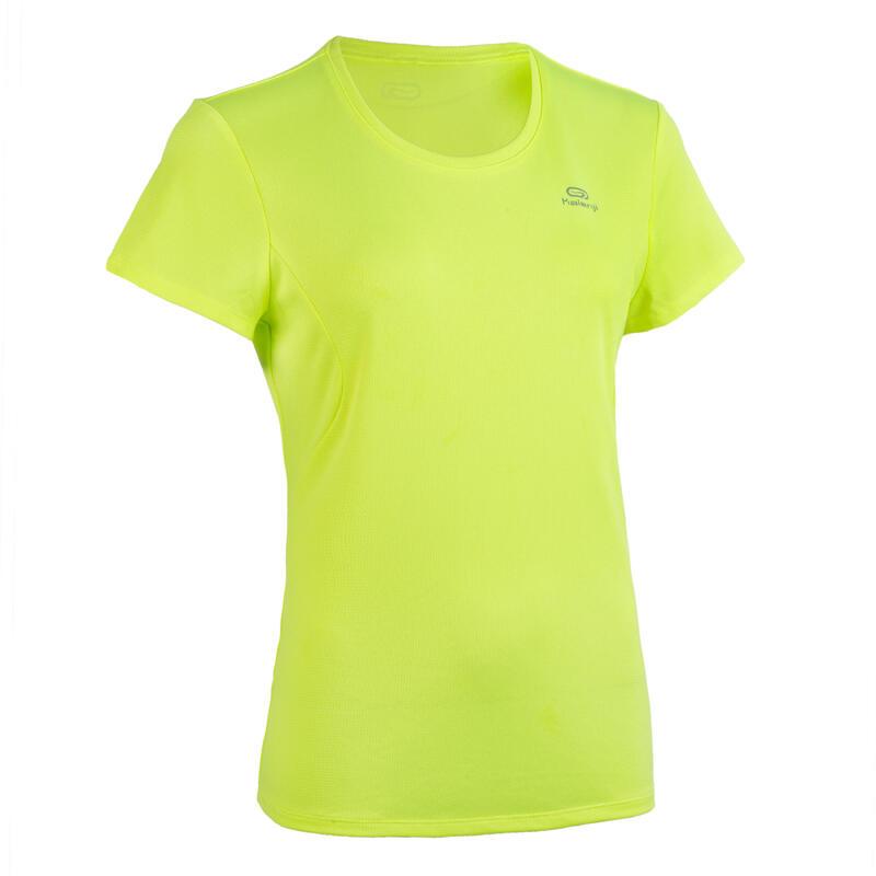 T-shirt de Atletismo Mulher Clube personalizável Amarelo Fluorescente
