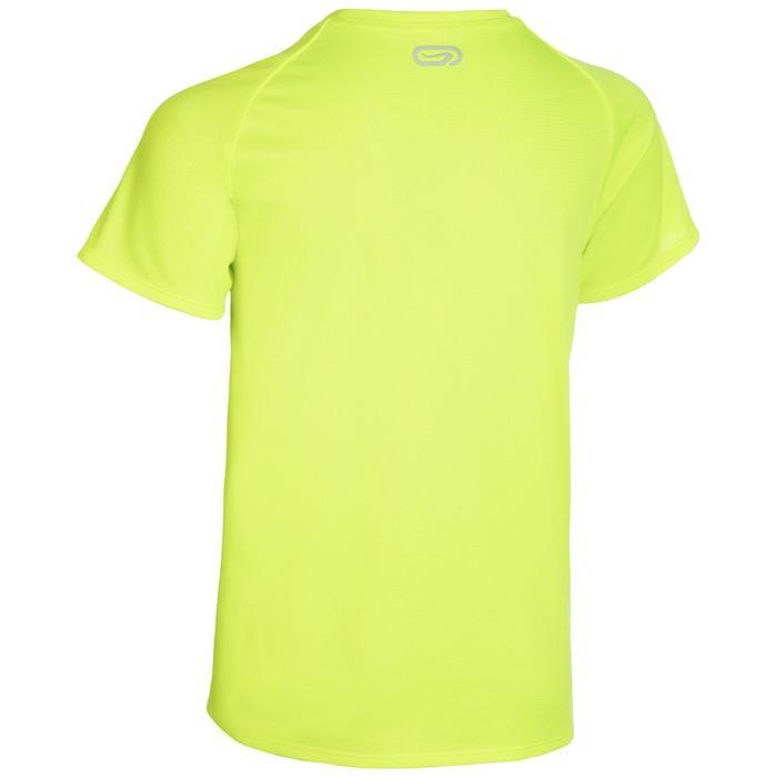 T-shirt voor atletiek kinderen club personaliseerbaar fluogeel