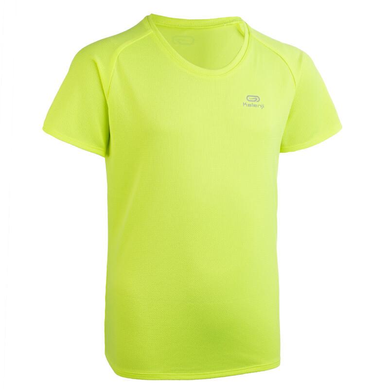 Tee shirt enfant Athlétisme club personnalisable jaune fluo