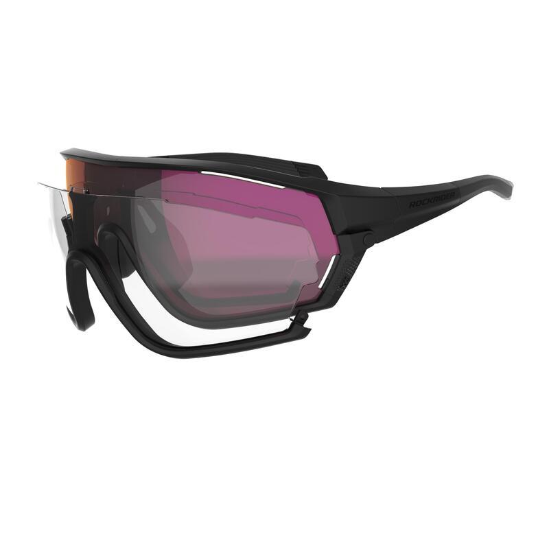 Ochelari ciclism MTB XC RACE CAT. 0+3 Lentile interschimbabile Negru Adulți