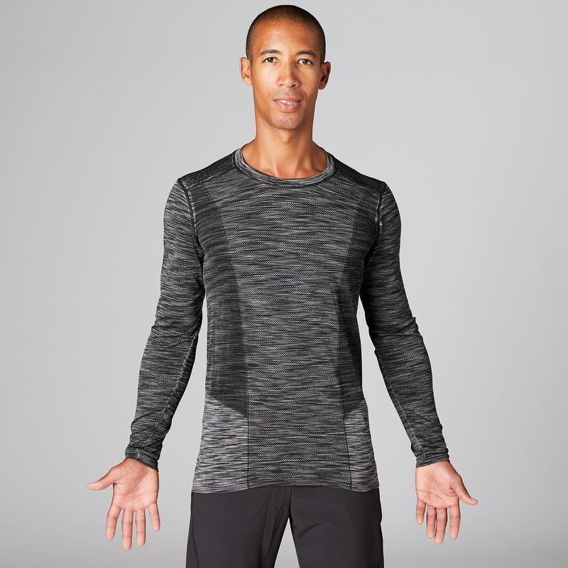 4ad1aecf55 Férfi hosszú ujjú póló jógához, varrásmentes, fekete, szürke ...