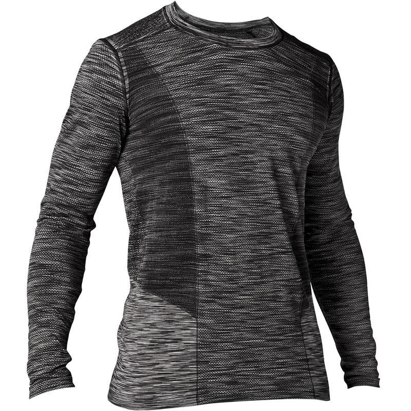 3c647ffb82 Férfi hosszú ujjú póló jógához, varrásmentes, fekete, szürke | Domyos by  Decathlon
