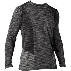 無縫長袖瑜珈T恤 - 黑色/灰色