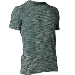 Camiseta Manga Corta Yoga Dinámico Domyos Hombre Verde Jaspeado Sin Costuras