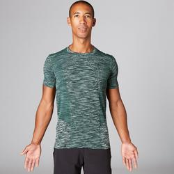 Camiseta Manga Corta Yoga Domyos Sin Costuras Hombre Verde Jaspeado