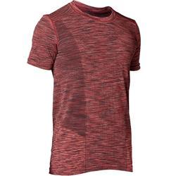 Camiseta Manga Corta Yoga Dinámico Domyos Hombre Burdeos Jaspeado Sin Costuras