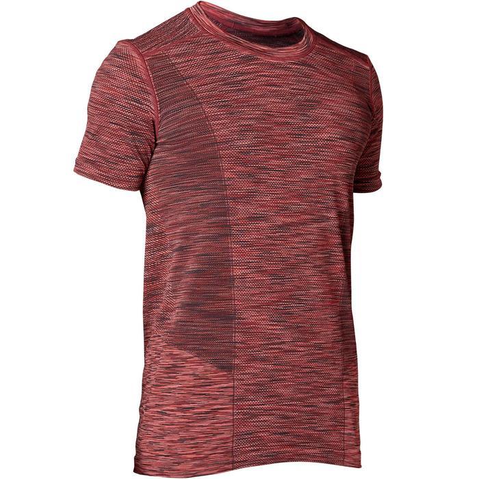 Kurzarm-T-Shirt nahtlos Yoga Herren bordeauxmeliert