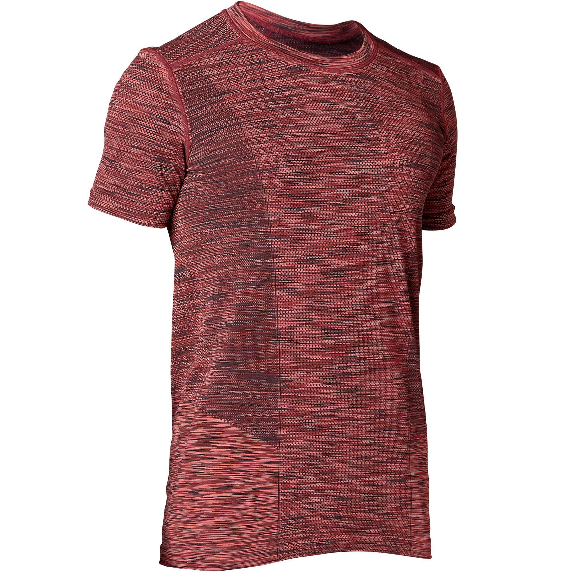 T shirt manches courtes sans coutures yoga homme bordeaux chine domyos