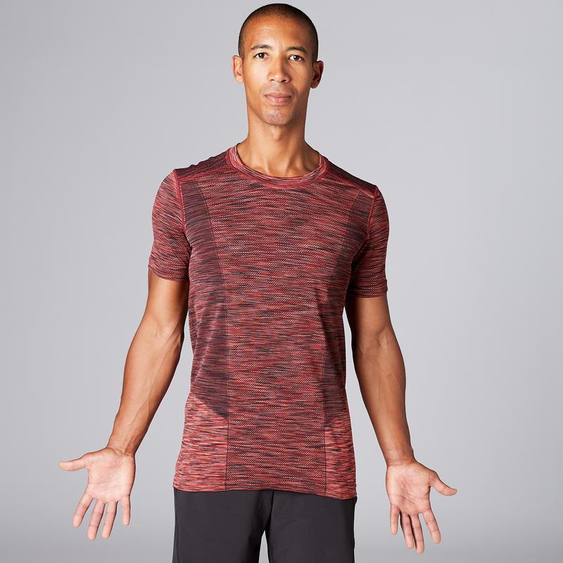 Seamless Half-Sleeved Yoga T-Shirt - Mottled Burgundy