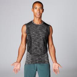 Camiseta sin Mangas Yoga Domyos Sin Costuras Hombre Negro Gris