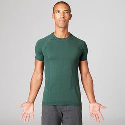 Camiseta Manga Corta Yoga Domyos Sin Costuras Hombre Verde