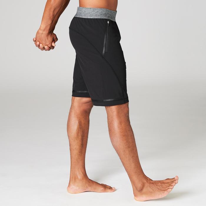 Polyester herenshort voor dynamische yoga zwart