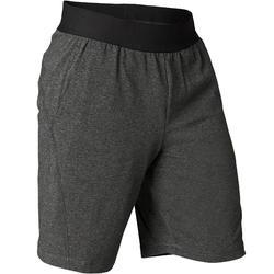 Pantalón Corto Deportivo Yoga Suave Domyos Hombre Gris Algodón Bio