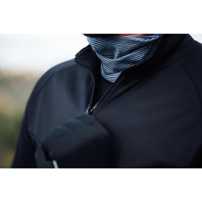 Wielershirt heren RC100 met lange mouwen turkooisblauw/zwart