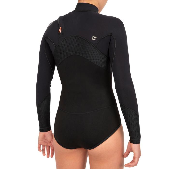 Traje Neopreno Tipo Bañador Manga Larga Surf Olaian 900 Mujer Negro/Rosa Coral