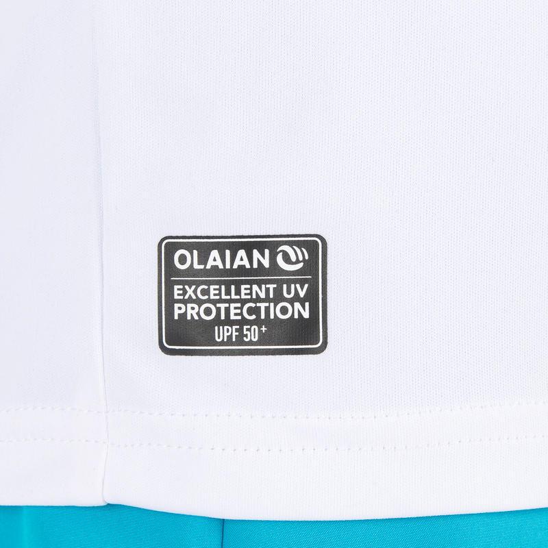 เสื้อแขนยาวเด็กป้องกันรังสียูวีสำหรับโต้คลื่น (สีขาว)