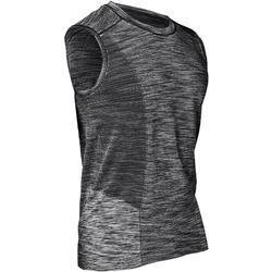 Camiseta sin Mangas Yoga Domyos Hombre Negro / Gris sin Costuras