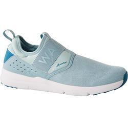 女款健身健走鞋Slip-On PW 160-淺藍色