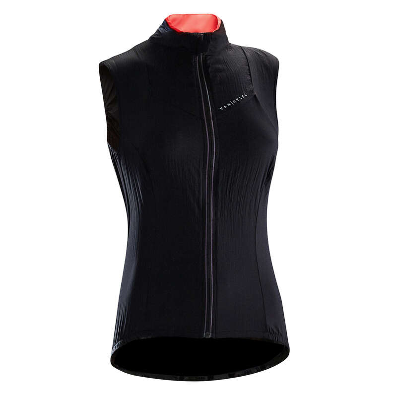 WOMAN MID SEASON CYCLING GARMENT Clothing - RC 500 Women's Windproof Cycling Gilet - Black VAN RYSEL - By Sport