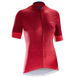 MAILLOT VELO MANCHES COURTES 900 FEMME ROSE MOTIF TRIANGLES