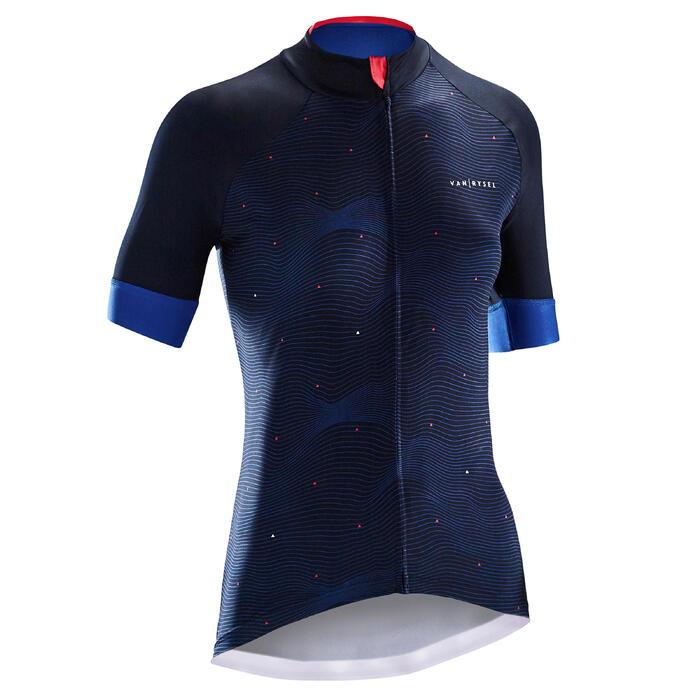 Wielershirt RR900 met korte mouwen voor dames blauw golfprint