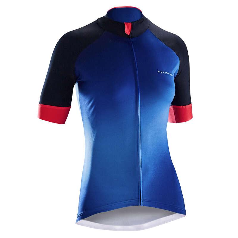 WOMEN WARM WEATHER ROAD APPAREL - RR 900 Women's Short Sleeve Cycling Jersey - Blue Gradient B'TWIN