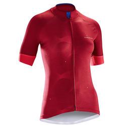 Fietsshirt 900 met korte mouwen dames roze golfprint