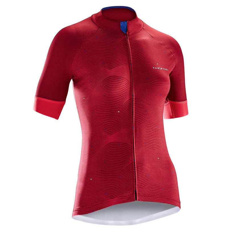 WOMEN WARM WEATHER ROAD APPAREL Clothing - RR 900 Women's Short Sleeve Cycling Jersey - Pink Wave B'TWIN - By Sport
