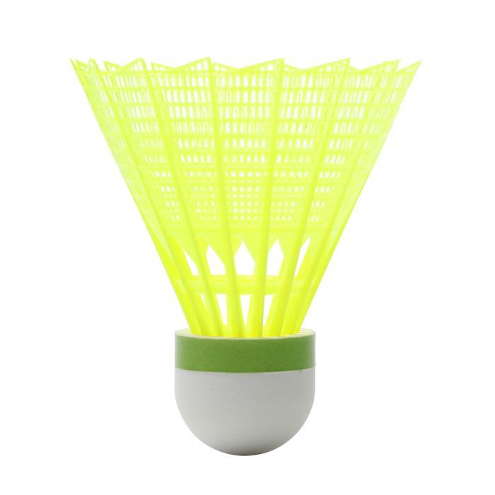 Badminton shuttles in plastic PSC 100 medium 6 stuks geel