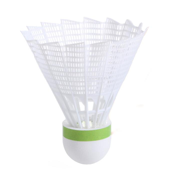 Badminton shuttles in plastic PSC 100 medium 6 stuks wit