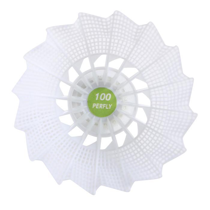 Badminton shuttles in plastic PSC 100 medium 6 stuks wit