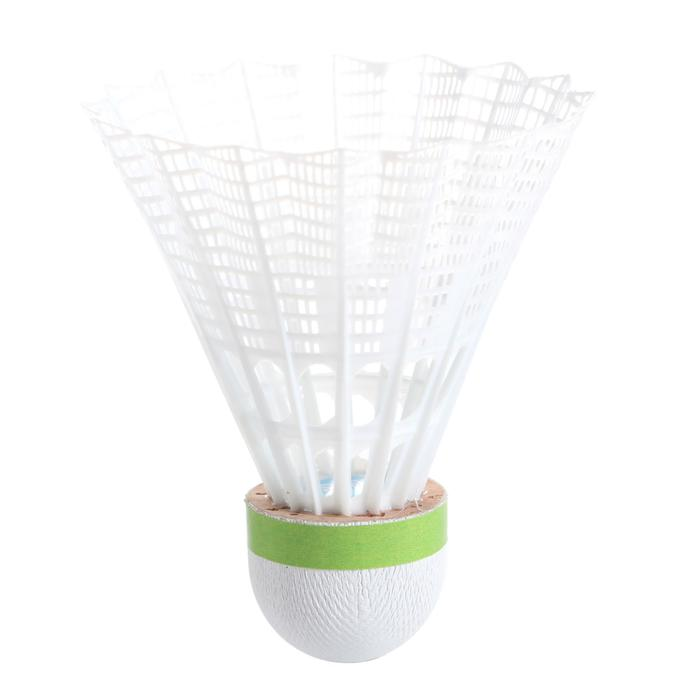 Badminton shuttles in plastic PSC 500 medium 6 stuks wit