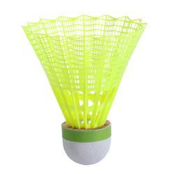 Badminton shuttles in plastic PSC 500 medium 6 stuks geel