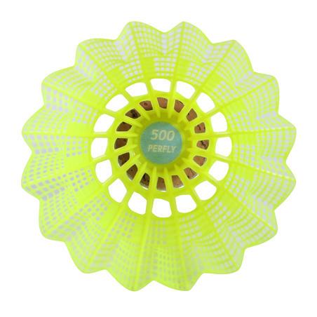Lot de 6 volants de badminton en plastique PSC 500 moyen - Jaune