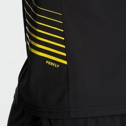 Camiseta de bádminton perfly manga corta hombre 530 negra y amarilla