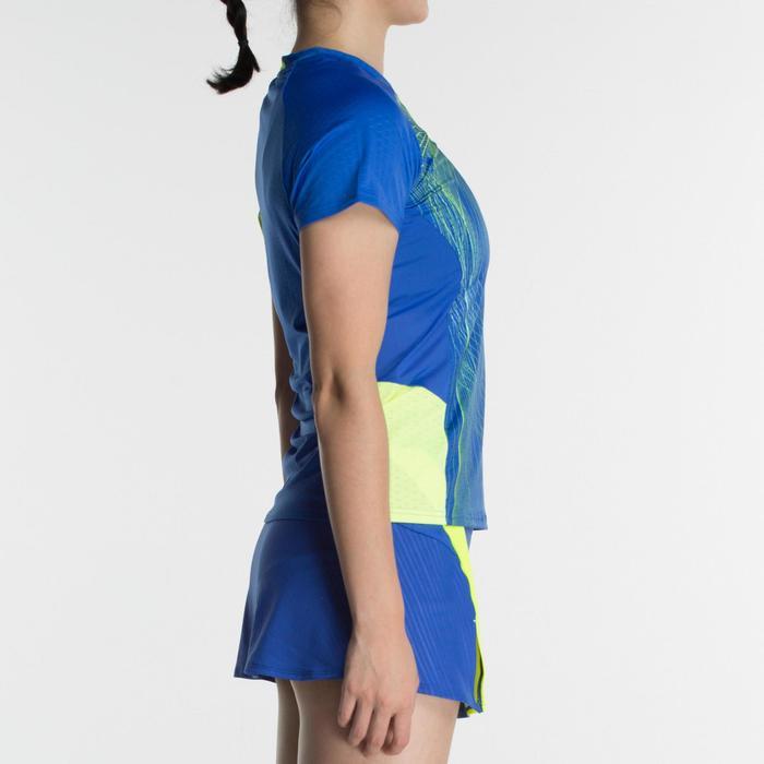 T-Shirt de badminton Femme 560 - Bleu/Jaune
