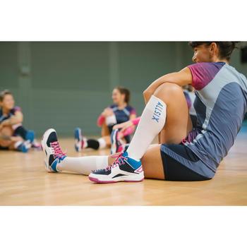 Volleybalsokken hoog V500 wit en blauw