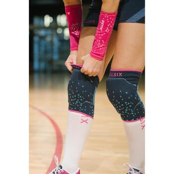 Chaussettes de volley-ball high V500 blanches et roses