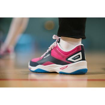 Chaussures de volley-ball V500 femme bleues et roses