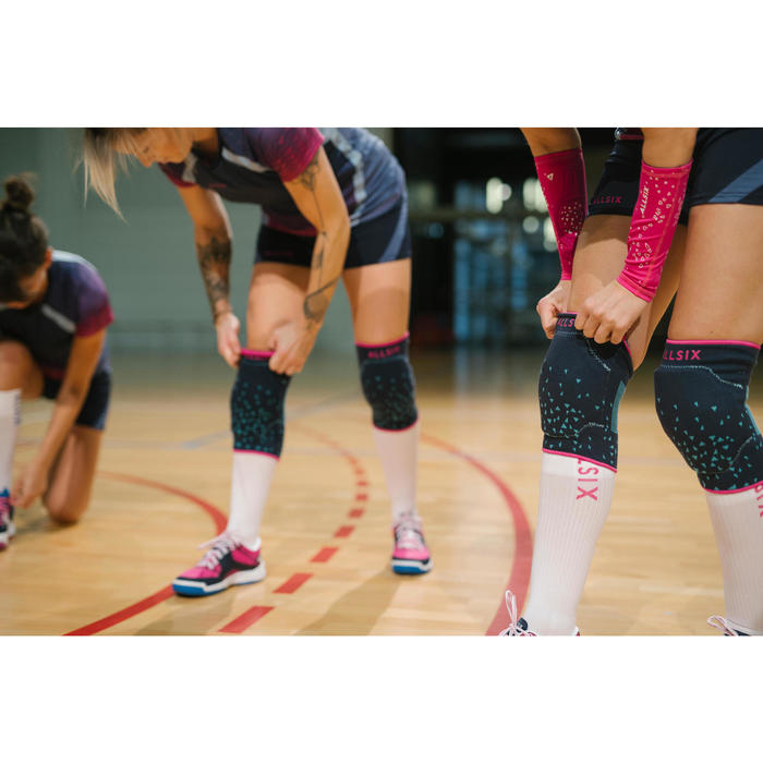 Chaussettes de volley-ball high V500 blanches et bleues