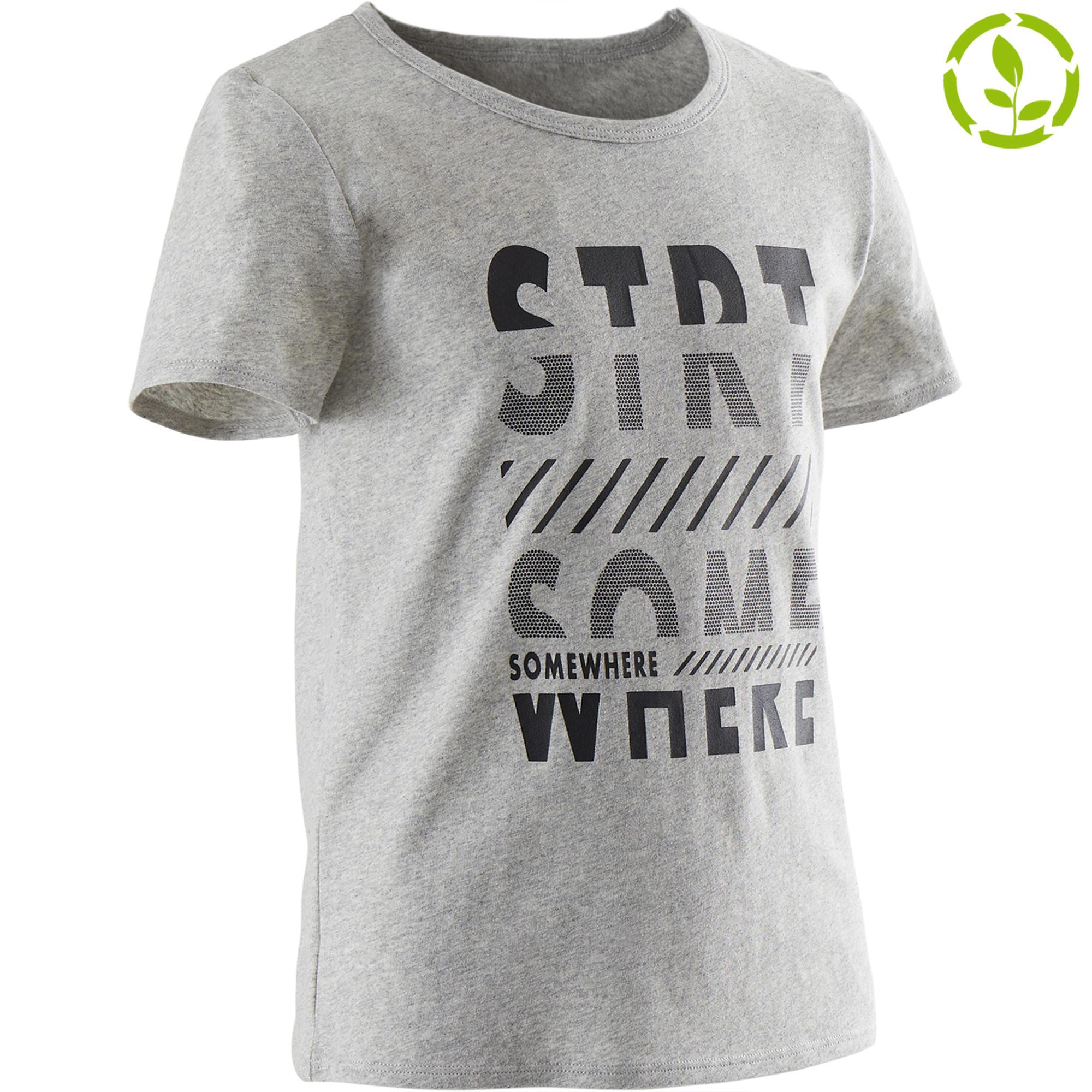 Camiseta manga corta reciclada 100 niño GIMNASIA JÚNIOR gris jaspeado estampado