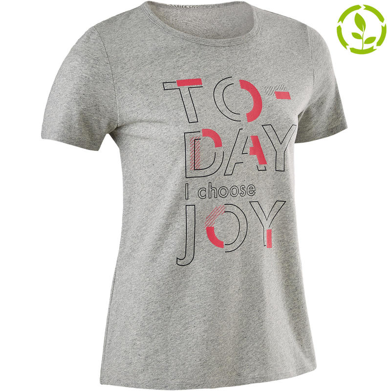 c02365a8e All Sports>Kids' Educational Gymnastics>Educational Gymnastics Girl's  Apparel>T-Shirts>100 Girls' Recycled Short-Sleeved Gym T-Shirt - Mottled  Mid-Grey ...