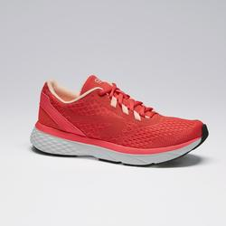 Zapatillas Running Kalenji Run Support Mujer Rosa Coral Fluorescente